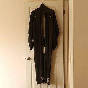Antique vintage dark brown silk kimono